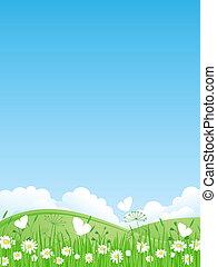 vecteur, été, illustrati, paysage.
