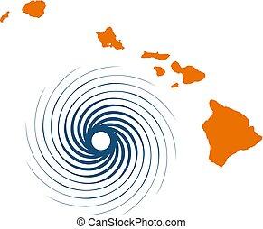 vecteur, îles, hurricane., hawaï, illustration