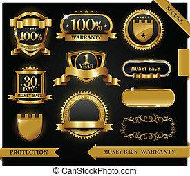 vecteur, 100%, guaranteed, étiquette, satisfaction, protection, signe