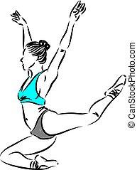 vecteur, 2, femme, danseur, illustration