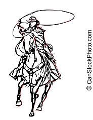 vecteur, 2, illustration, cow-boy