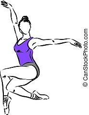vecteur, 3, danseur, illustration, femme