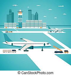 vecteur, aéroport, concept