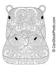 vecteur, adultes, hippopotame, coloration, tête