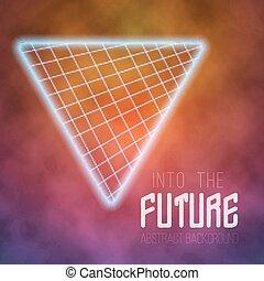 vecteur, affiche, néon, disco, arrière-plan., avenir, retro, poste