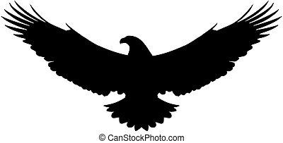 vecteur, aigle, américain, voler, silhouette