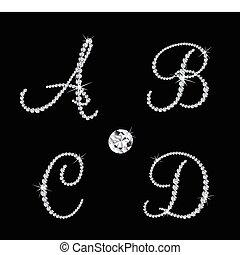 vecteur, alphabétique, diamant, ensemble, letters.