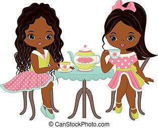vecteur, américain, mignon, peu, africaine, avoir, filles, thé