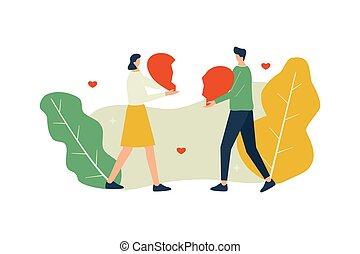 vecteur, amour, concept, couple, illustration