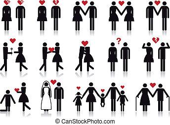 vecteur, amour, ensemble, icône, gens
