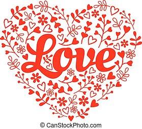 vecteur, amour, fleur, coeur, rouges