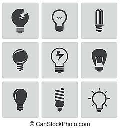 vecteur, ampoules, ensemble, noir, icônes