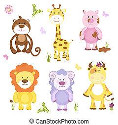 vecteur, animal, dessin animé, ensemble, mignon