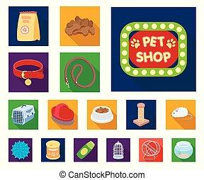 vecteur, animaux, marchandises, illustration., chouchou, plat, ensemble, toile, stockage, collection, symbole, icônes, design., magasin