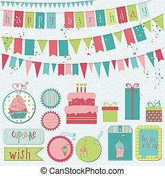 vecteur, -, anniversaire, conception, retro, album, invitation, éléments, célébration