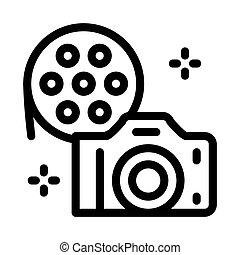 vecteur, appareil photo, illustration, icône, contour, pellicule