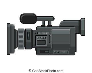 vecteur, appareil photo, vidéo, numérique, professionnel, enregistreur, icon.