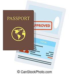 vecteur, approuvé, tampon fixe, visa, passeport, illustration