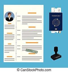 vecteur, approuvé, visa