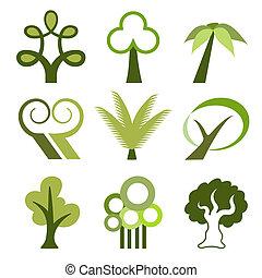 vecteur, arbre, icônes