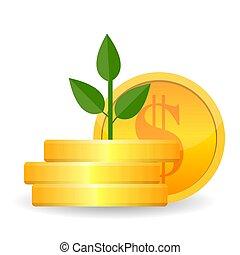 vecteur, arbre, illustration, icon., branches, business, argent, croissant, symbole, pièces or, richesse, success.