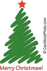 vecteur, arbre, noël, icône