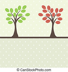vecteur, arbre, retro, illustration