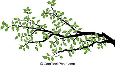 vecteur, arbre, silhouette, branche, graphiques