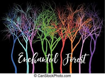 vecteur, arbres, coloré, illustration, forêt, vif