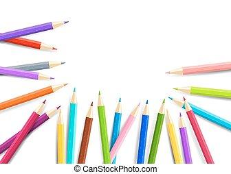 vecteur, arc-en-ciel, isolé, blanc, arrière-plan., crayons, eps10.