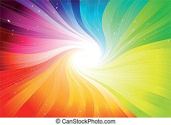 vecteur, arc-en-ciel, starburst, coloré