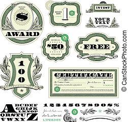 vecteur, argent, cadre, ensemble, ornement