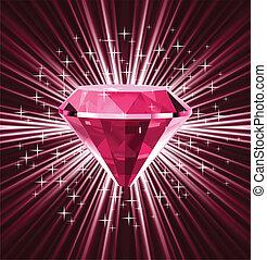 vecteur, arrière-plan., clair, diamant, rouges