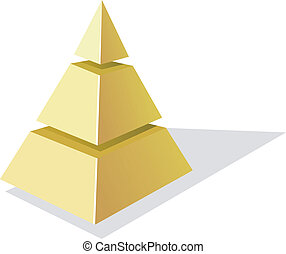 vecteur, arrière-plan doré, pyramide, blanc, illustration