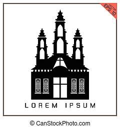 vecteur, arrière-plan noir, église, blanc, icône