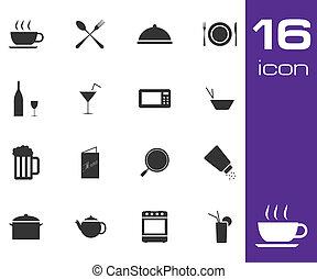 vecteur, arrière-plan noir, icône, ensemble, blanc, nourriture