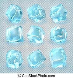 vecteur, arrière-plan., réaliste, cubes, isolé, glace, ensemble, transparent, 3d
