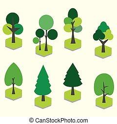 vecteur, art, arbre., 3d, ensemble, agrafe, graphique