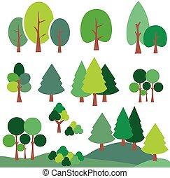 vecteur, art, arbre., ensemble, agrafe, graphique