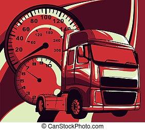 vecteur, art, conception, illustration, dessin animé, demi-camion