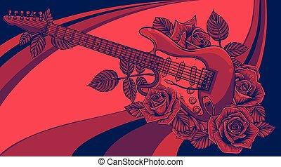 vecteur, art, illustration, guitare, rose., résumé
