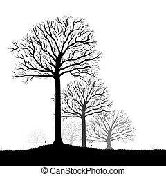 vecteur, art, silhouette, arbres