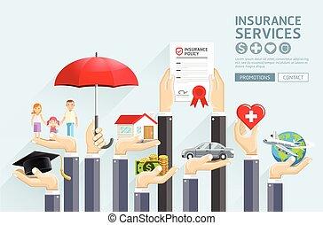 vecteur, assurance, services., mains, illustrations.