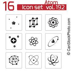 vecteur, atome, ensemble, noir, icônes