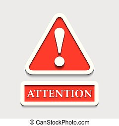 vecteur, attention, mark., texte, exclamation, créatif, conception