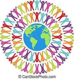 vecteur, autour de, mondiale, illustration, gens, coloré