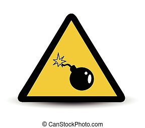 vecteur, avertissement, bombe, signe