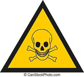 vecteur, avertissement, symbole., signe, crâne, illustration