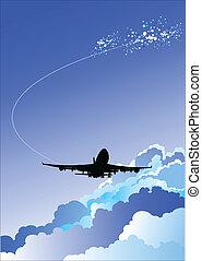 vecteur, avion, illustrat, atterrissage
