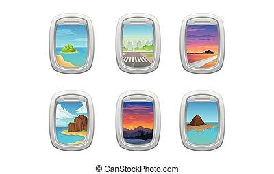 vecteur, avion, vue, pittoresque, fenêtre, ou, ensemble, hublot